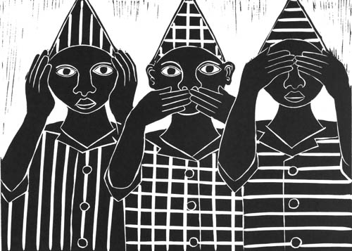Speak, see hear no evil - Linocut by Billy Mamdindi
