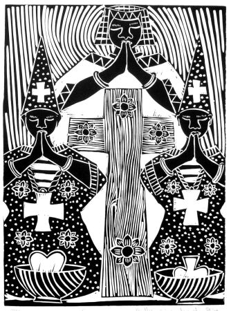 Click the image for a view of: Prayer - Linocut by Billy Mandindi