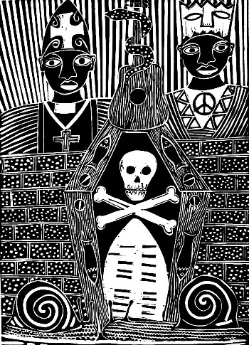 Click the image for a view of: Warning - Linocut by Billy Mandindi