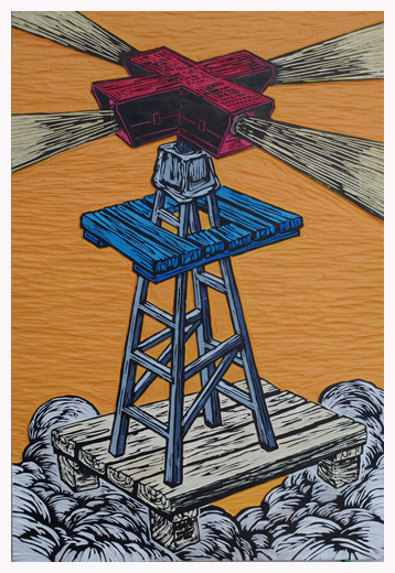 Click the image for a view of: Watch tower - Acrylic/mixed media on carved board - H60cm x W40cm