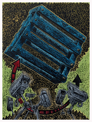 Click the image for a view of: CCTV 1 - Acrylic on carved linoblock - H40 x W30cm