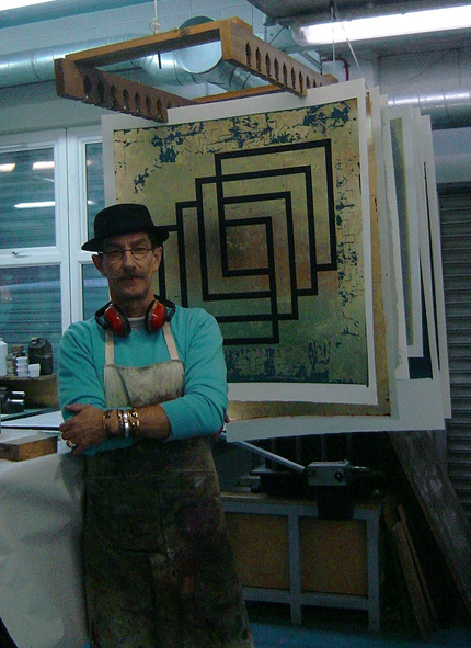 Click the image for a view of: Jonathan with finished clients commissioned print, London